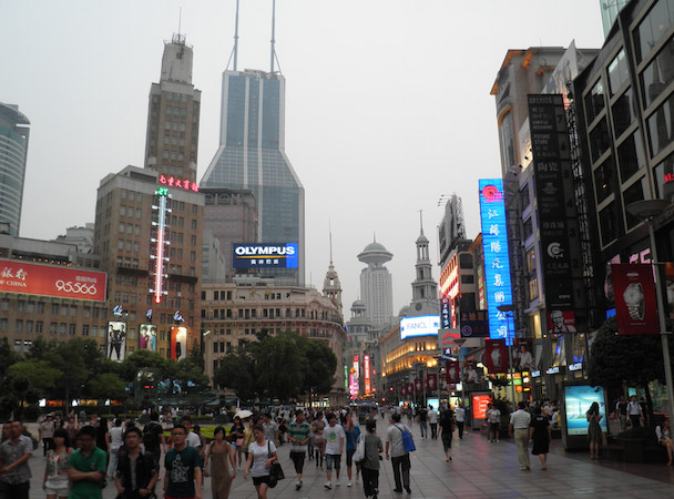 Winkelstraat Nanjing road Shanghai