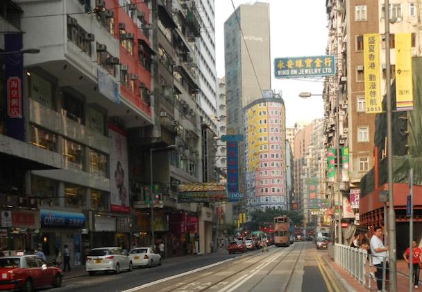 Straatbeeld van Hong Kong