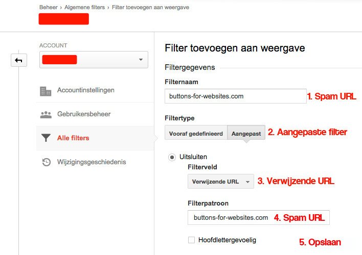 Google analytics filteren