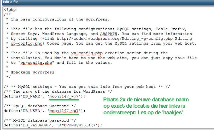 de wp-config.php aanpassen