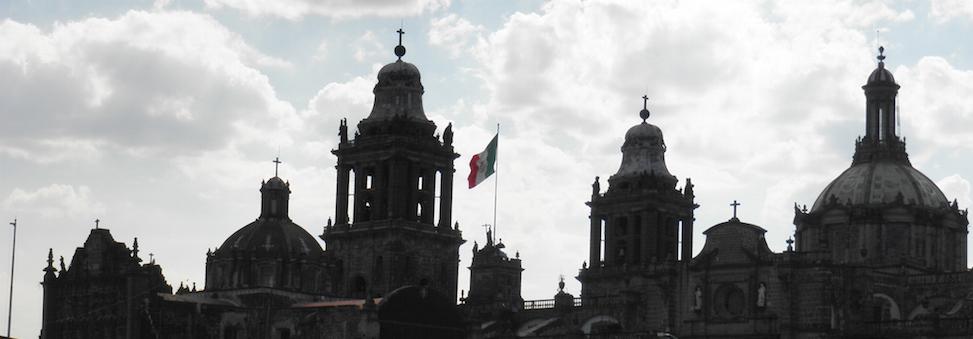 Mexico City kerk en vlag