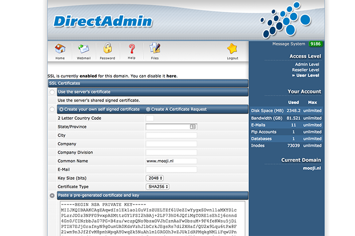 SSL in DirectAdmin